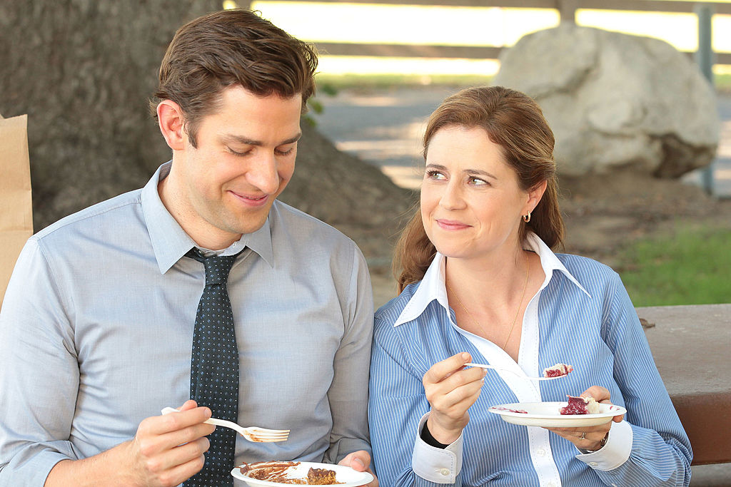 John Krasinski as Jim Halpert and Jenna Fischer as Pam Halpert on 'The Office'