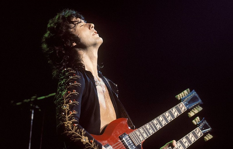 Jimmy Page plays his custom double-neck guitar at Madison Square Garden, '73.