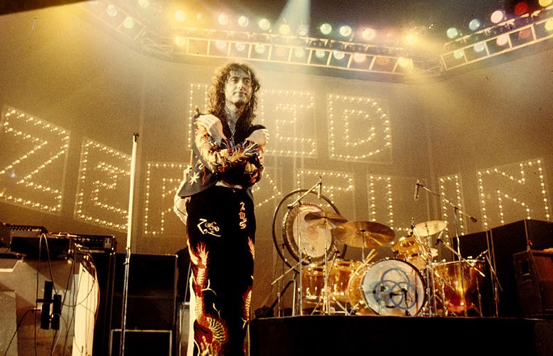 Jimmy Page standing onstage in 1975