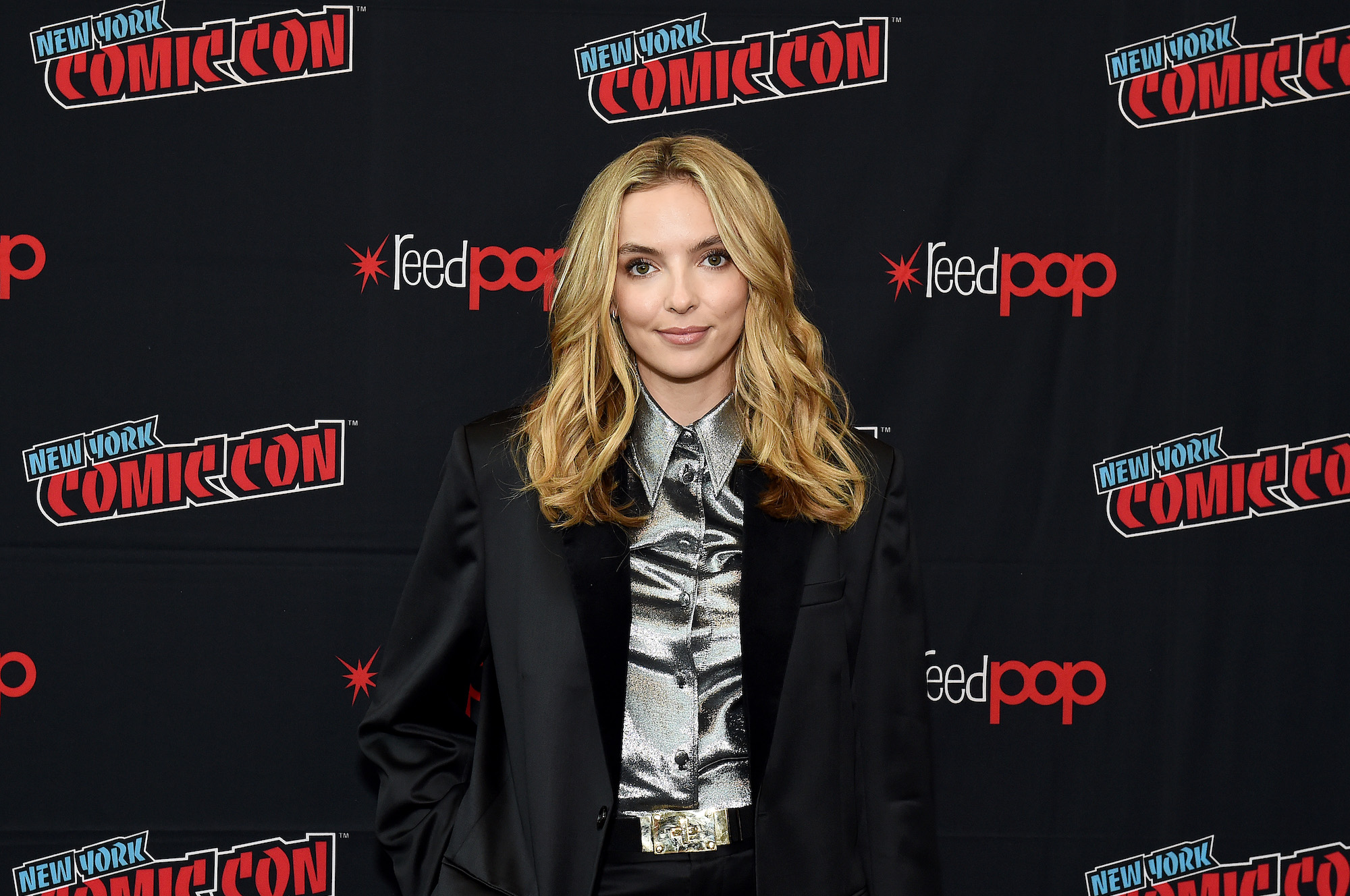 Jodie Comer at New York Comic Con because of her role in 'Free Guy' on October 03, 2019.