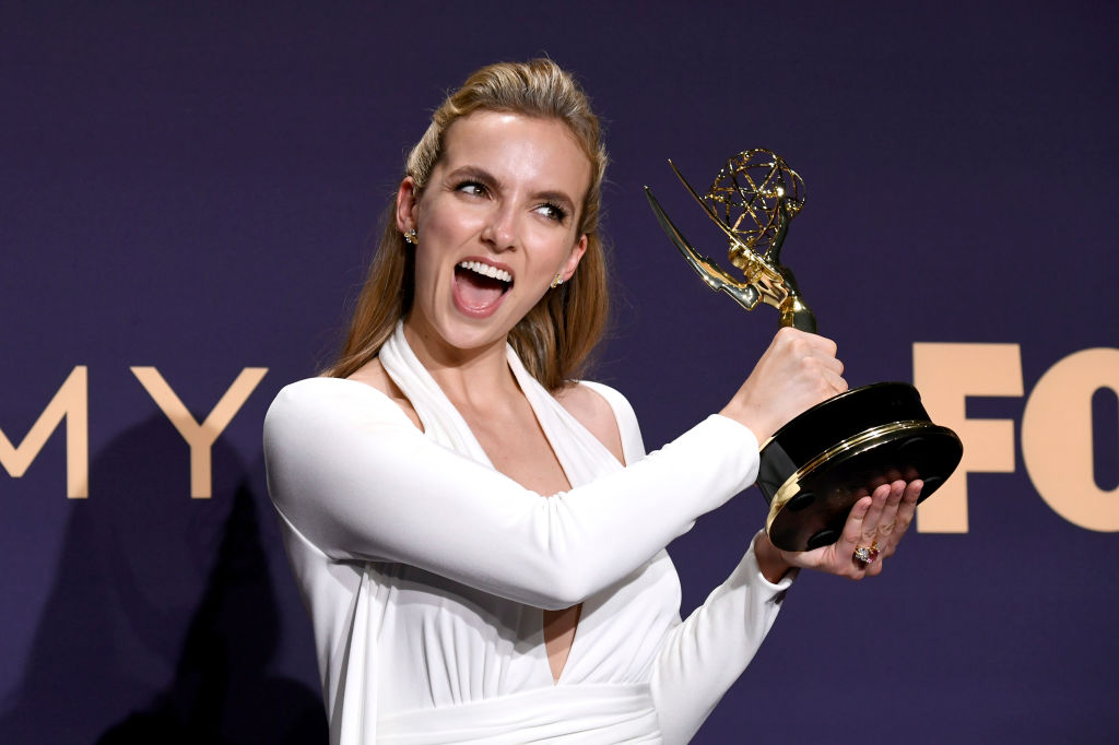 Jodie Comer with her Emmy for Outstanding Lead Actress in a Drama Series for 'Killing Eve' on September 22, 2019.