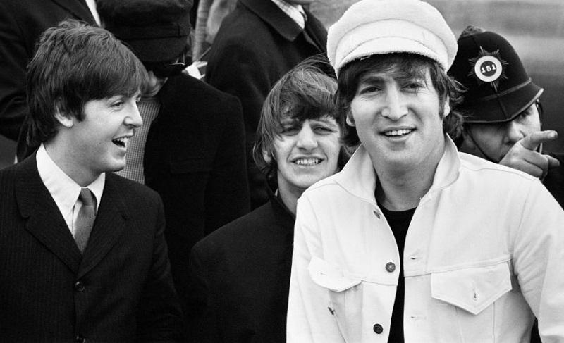 Beatles at Heathrow airport in '65