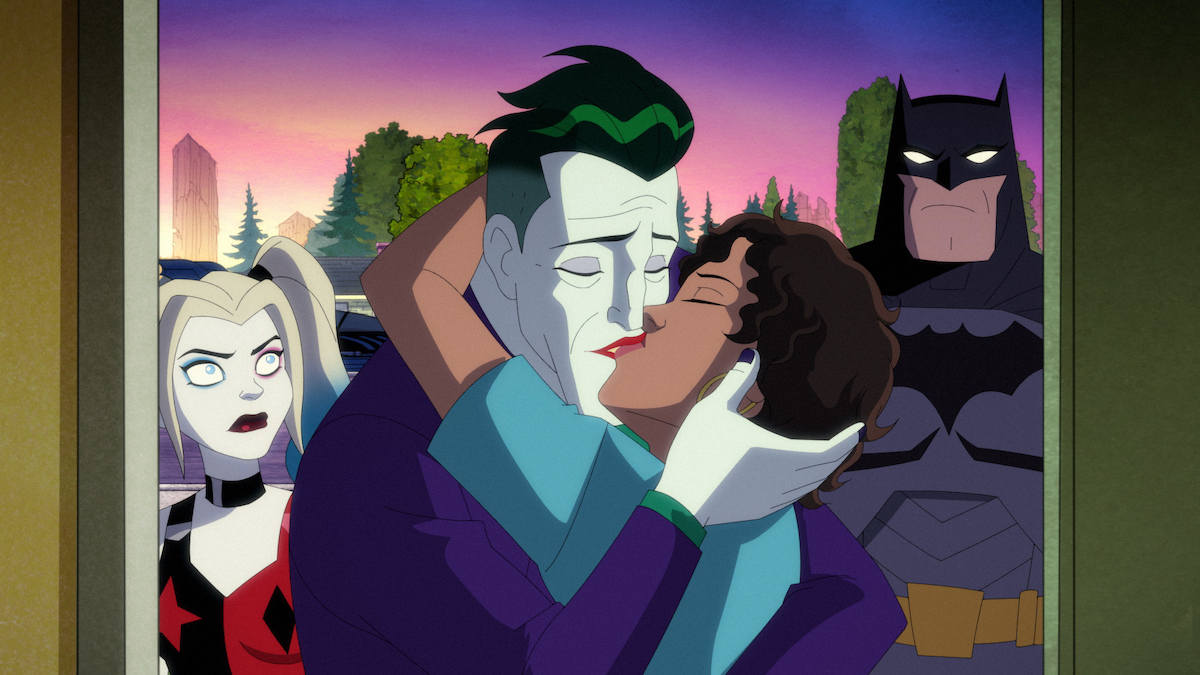 The Joker reconciles with Bethany, while Harley and Batman watch, 'Harley Quinn'