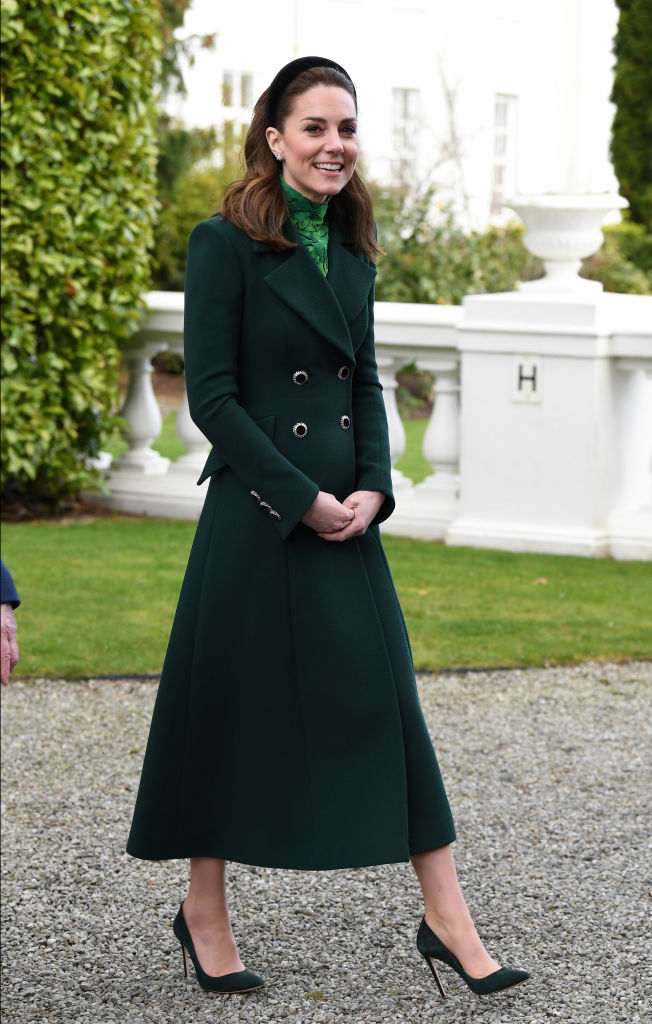 Kate Middleton meets Ireland's President Michael D. Higgins and his wife Sabina Higgins at Aras an Uachtarain on March 03, 2020 in Dublin, Ireland