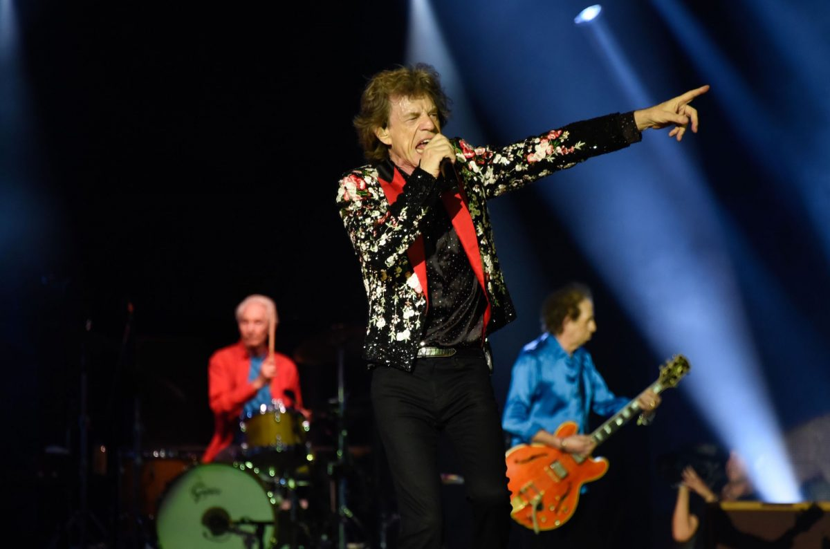 Charlie Watts, Mick Jagger and Keith Richards of The Rolling Stones perform onstage
