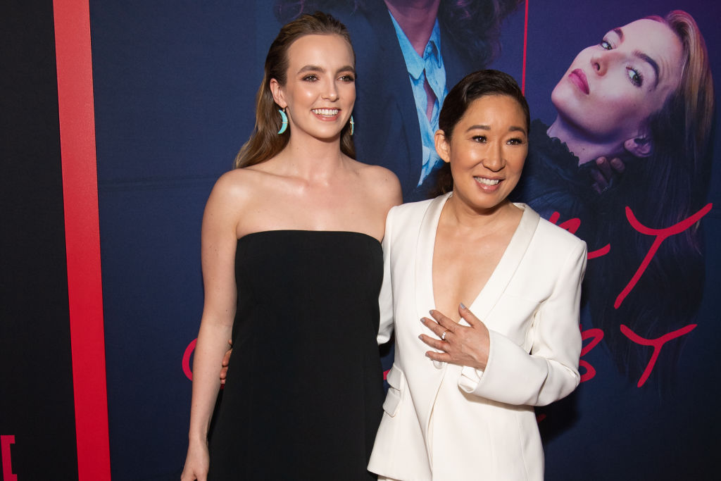 Jodie Comer and Sandra Oh at the premiere of BBC America and AMC's 'Killing Eve,' Season 2 at ArcLight Hollywood on April 01, 2019.
