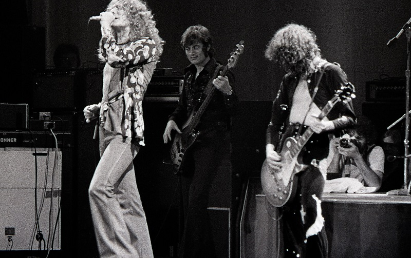 Led Zeppelin on stage in 1975