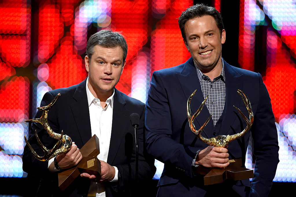 Honorees Matt Damon (L) and Ben Affleck accept the Guys Of The Decade award onstage during Spike TV's 10th Annual Guys Choice Awards at Sony Pictures Studios on June 4, 2016 in Culver City, California.