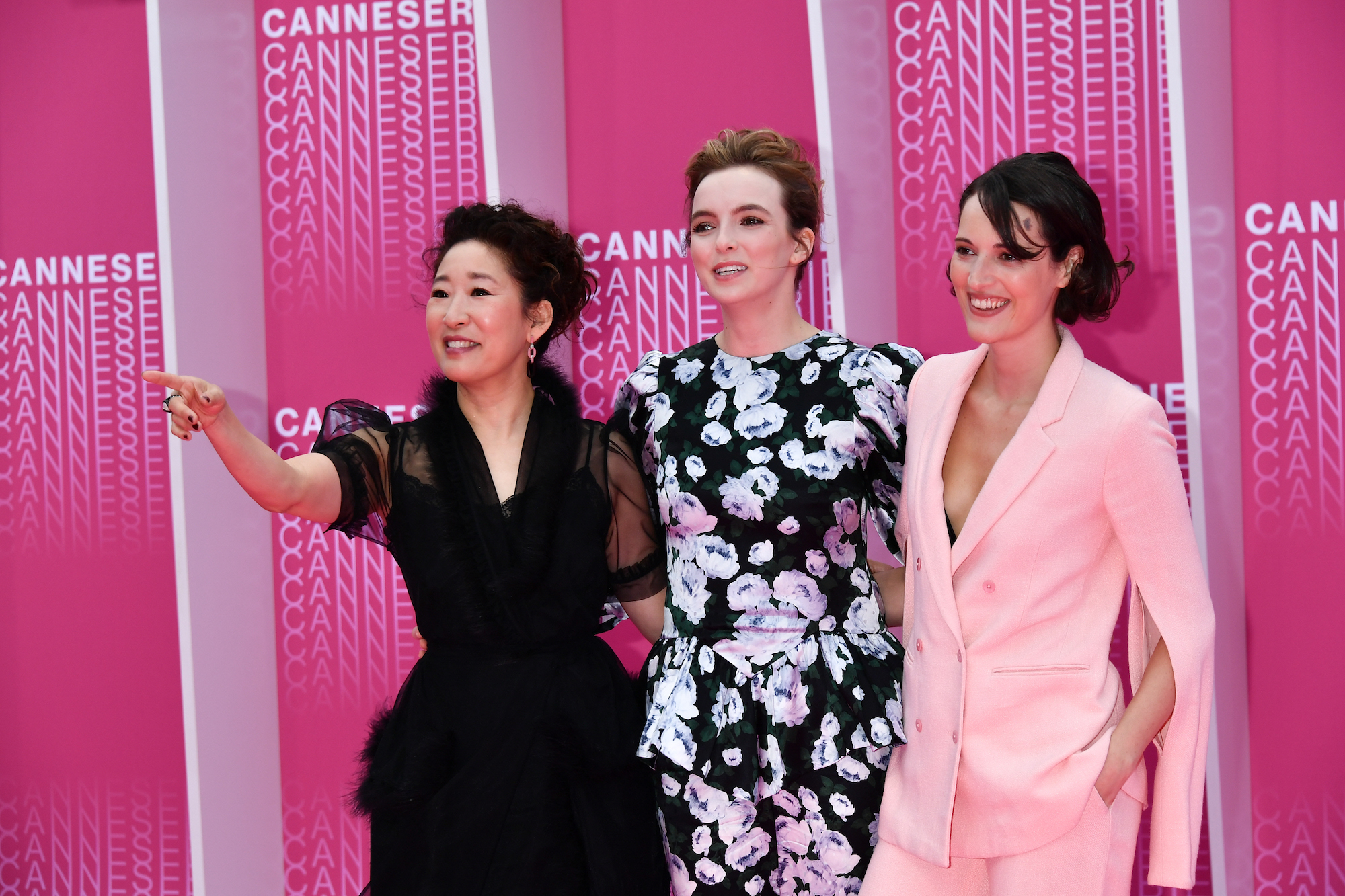 Sandra Oh, Jodie Comer, and Phoebe Waller-Bridge at Cannes in 2018.
