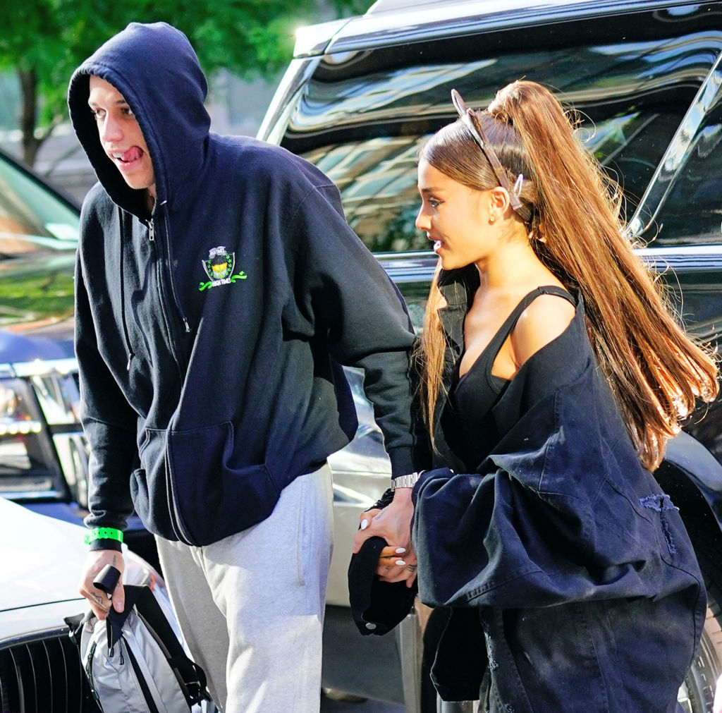 Ariana Grande and Pete Davidson out and about on June 25, 2018 in New York City.