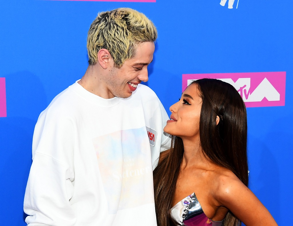 Pete Davidson and Ariana Grande attend the 2018 MTV Video Music Awards at Radio City Music Hall on August 20, 2018 in New York City.