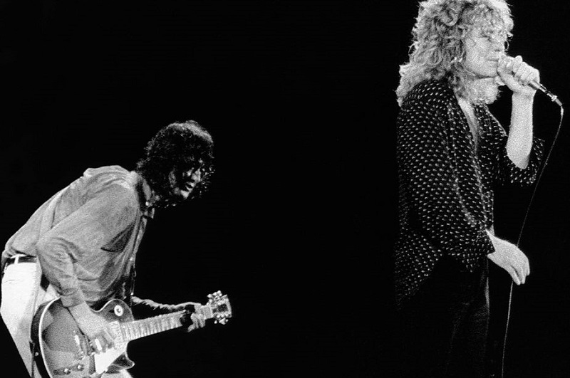 Led Zeppelin's Jimmy Page and Robert Plant on stage