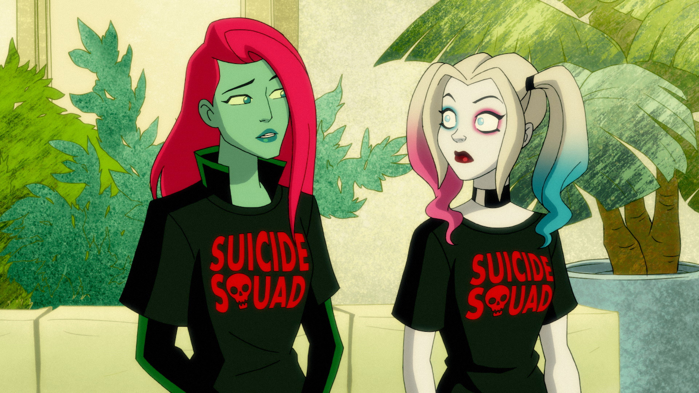 Poison Ivy and Harley Quinn talk on their couch in Season 1 of DC Universe's 'Harley Quinn'