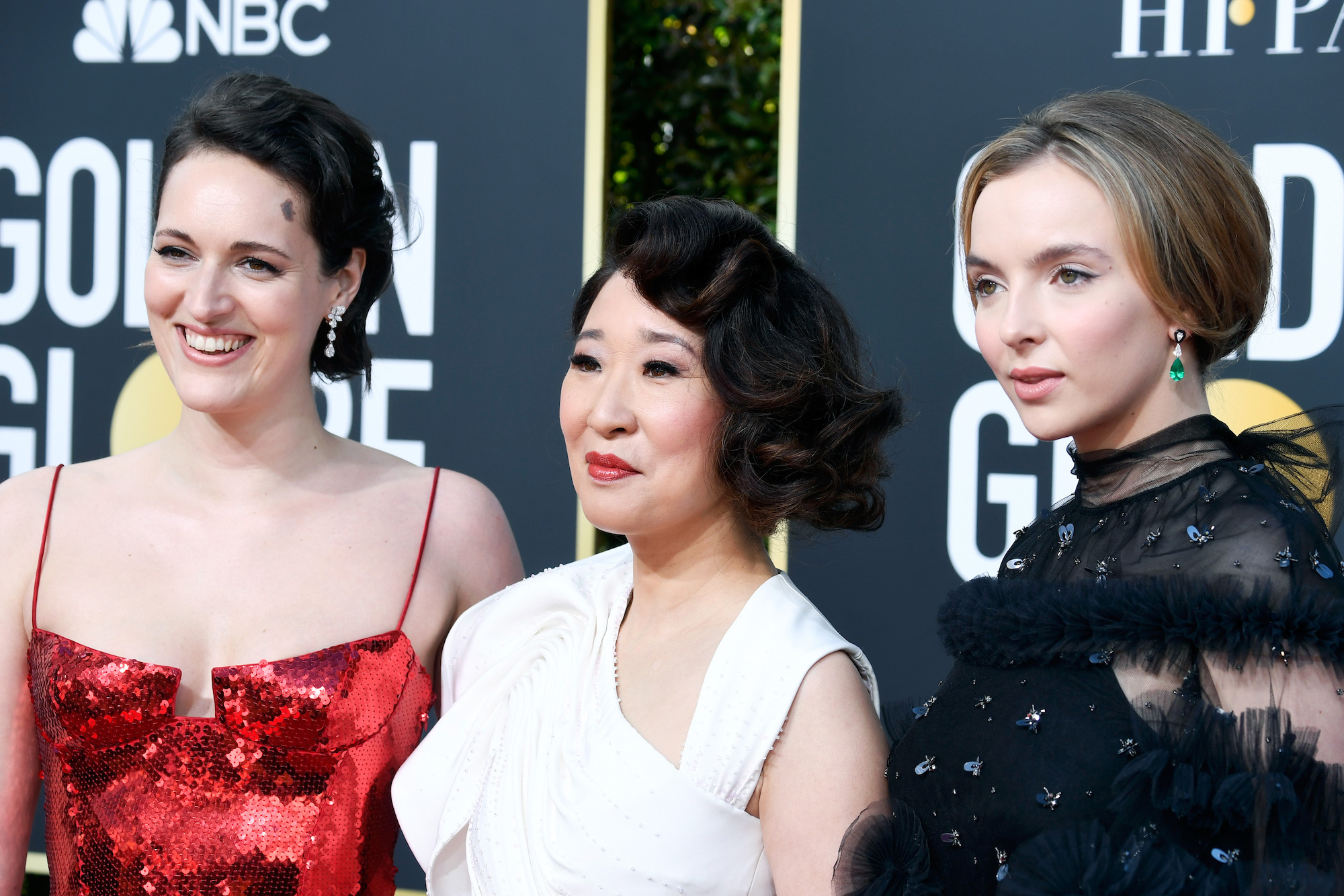 Phoebe Waller-Bridge. Sandra Oh, and Jodie Comer at the 76th Annual Golden Globe Awards on January 6, 2019.