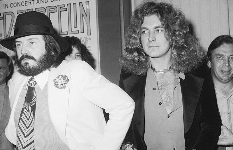 John Bonham and Robert Plant at a Zeppelin film premiere