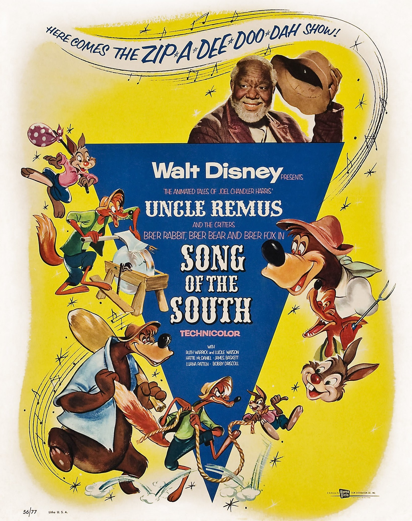 'Song Of The South' poster with James Baskett on top, who played Uncle Remus.