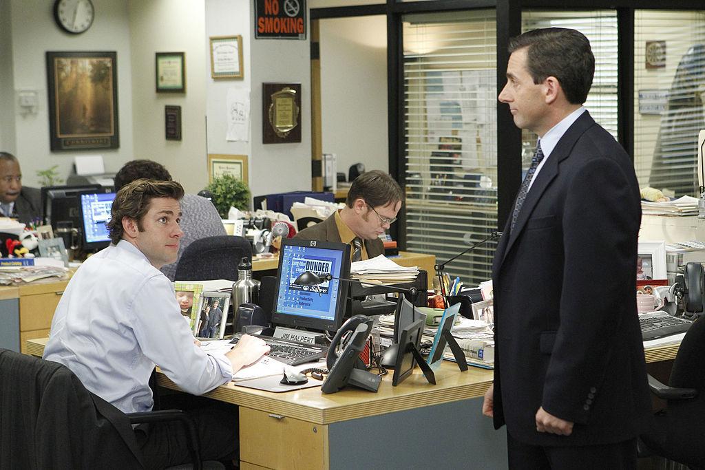 John Krasinski as Jim Halpert, Rainn Wilson as Dwight Schrute, Steve Carell as Michael Scott on The Office