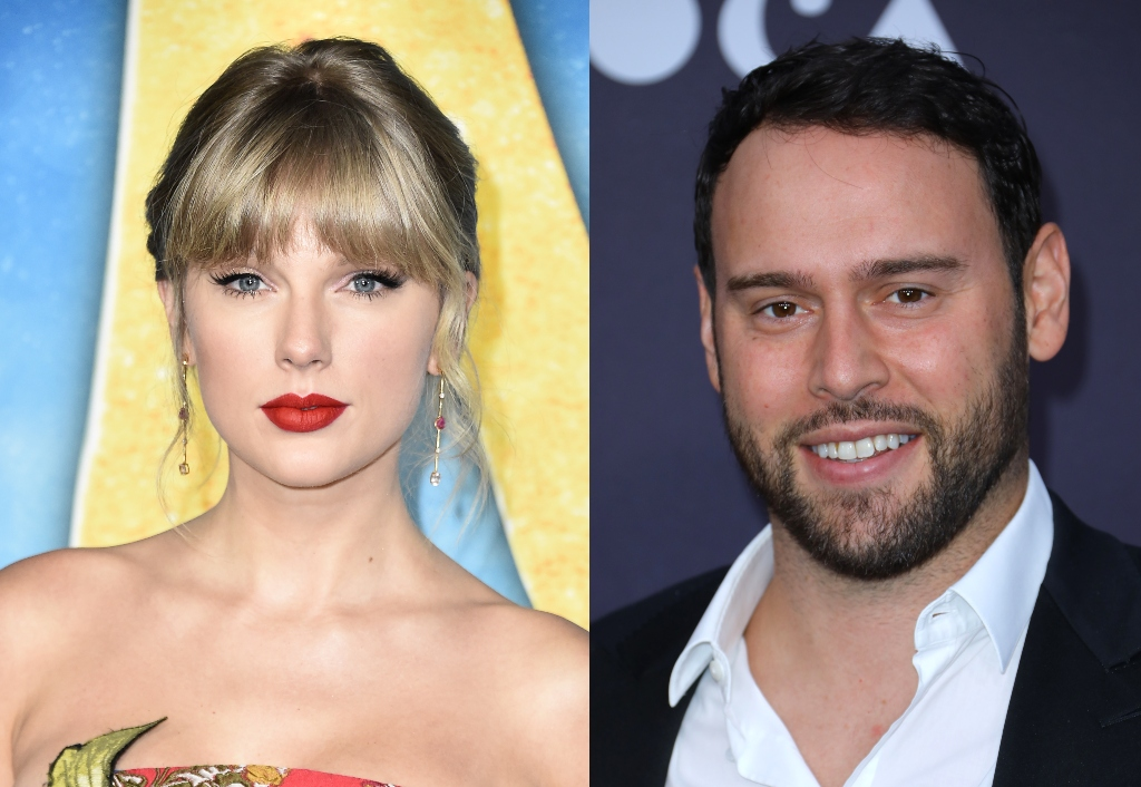 Composite image of Taylor Swift and Scooter Braun