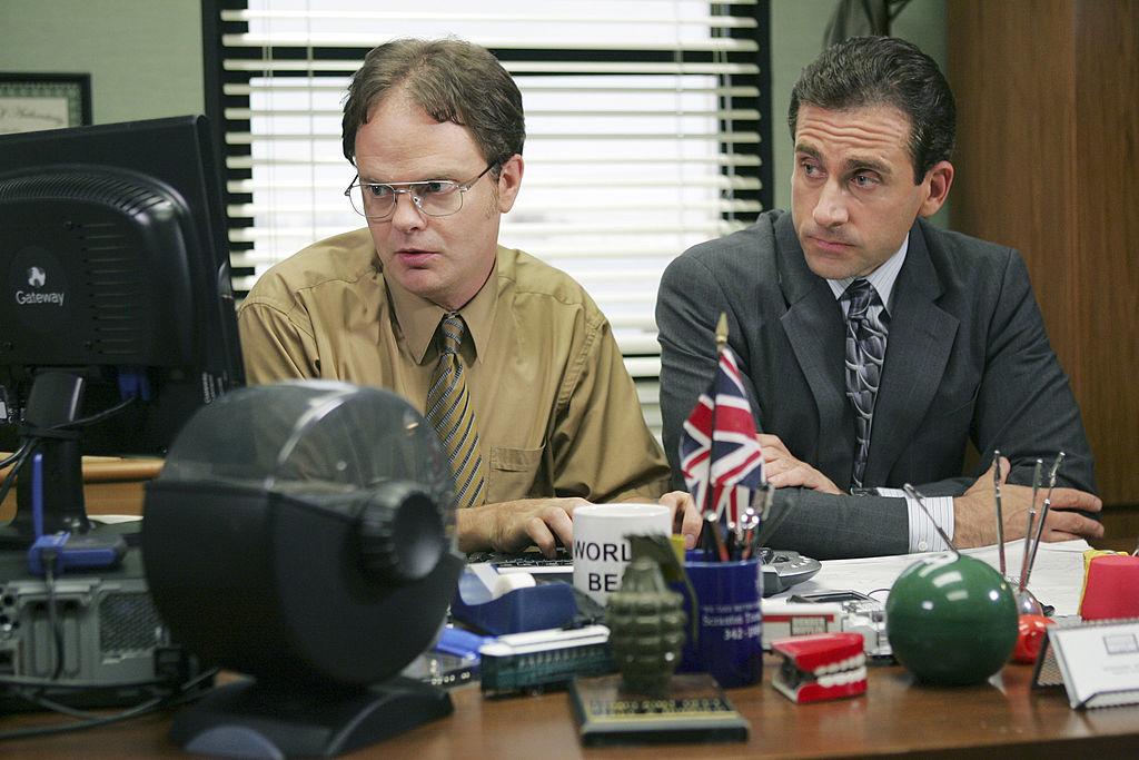 Rainn Wilson as Dwight Schrute and Steve Carell as Michael Scott on 'The Office'