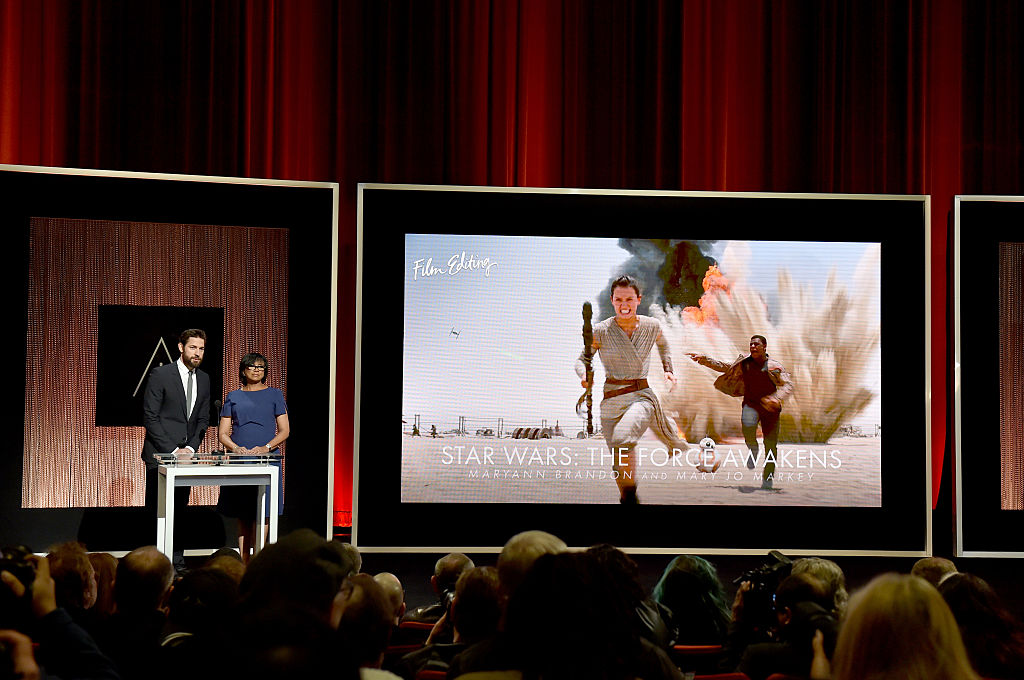 'Star Wars: The Force Awakens' is shown on screen as it's nominated for an Oscar in 2016.
