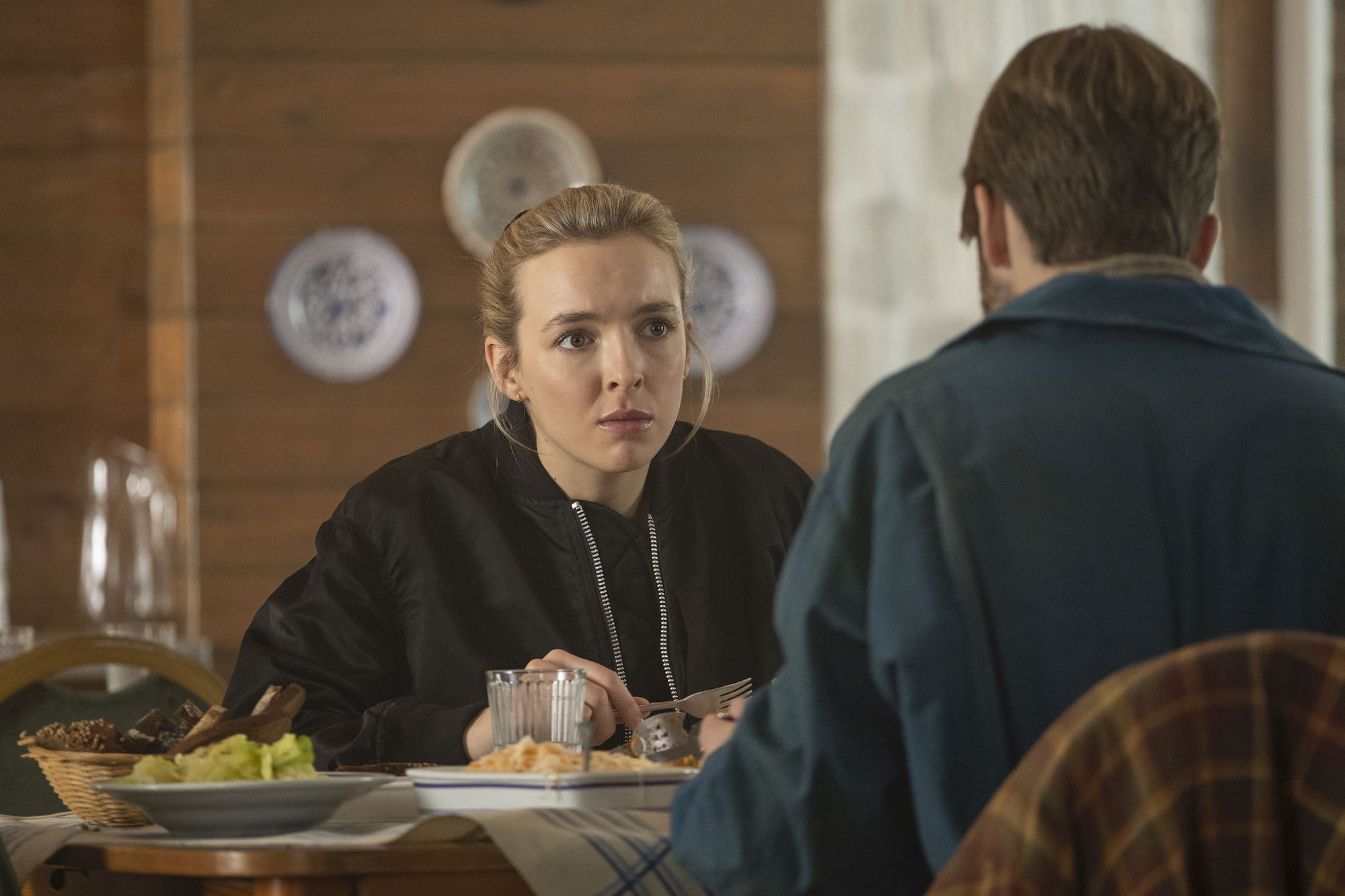 Jodie Comer as Villanelle, Rob Feldman as Pyotr in Season 3 of 'Killing Eve.'