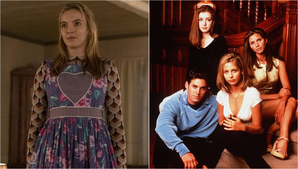 (L) Villanelle talking to her mother in Season 3, 'Killing Eve' / (R) The cast of 'Buffy the Vampire Slayer'
