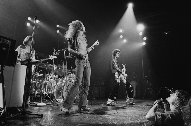 Led Zeppelin performing live in New York in 1973