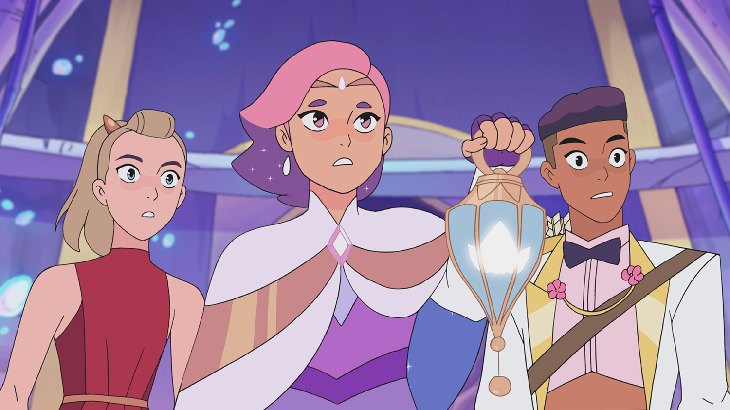 Adora, Glimmer, and Bow during Glimmer's coronation in Season 4, 'She-Ra and the Princesses of Power'