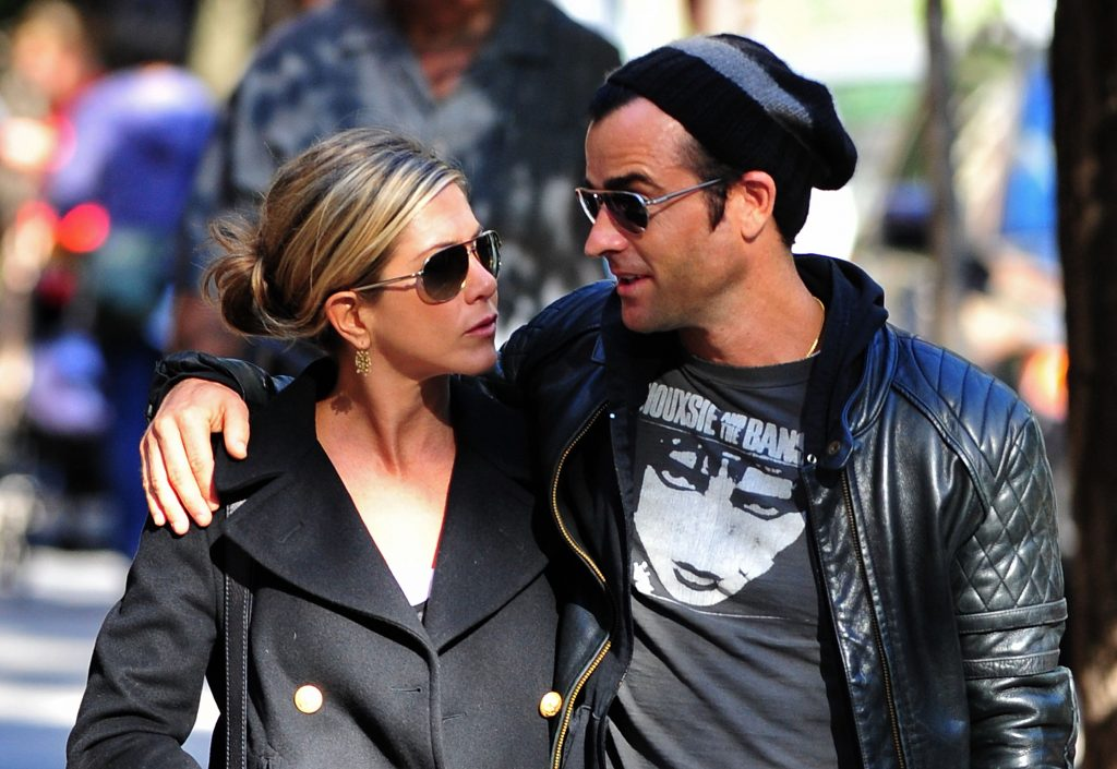 Jennifer Aniston and Justin Theroux walk in the West Village on September 18, 2011