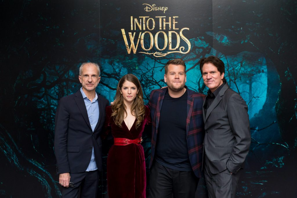 """(L-R) Producer John DeLuca, Anna Kendrick, James Corden and Director Rob Marshall attend a photocall for """"Into The Woods"""" at Corinthia Hotel London"""