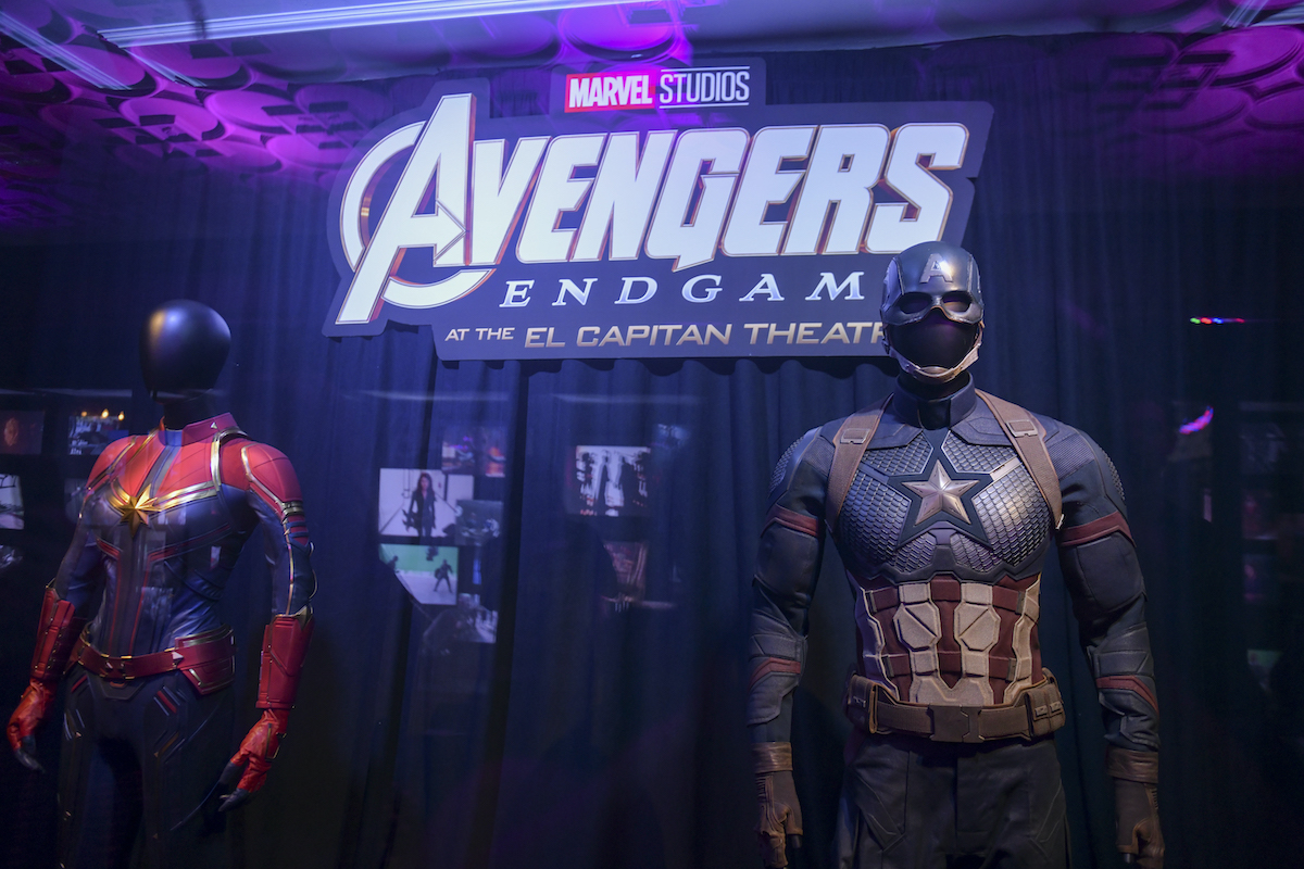 Captain Marvel's and Captain America's suits on display