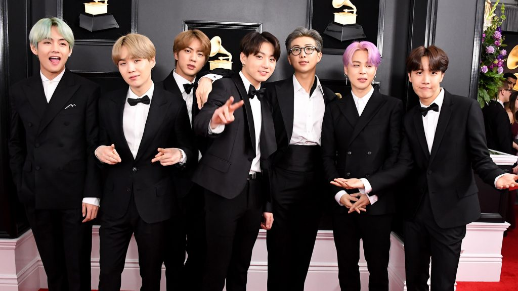 BTS arrives at the 61st Annual GRAMMY Awards at Staples Center on February 10, 2019 in Los Angeles, California.