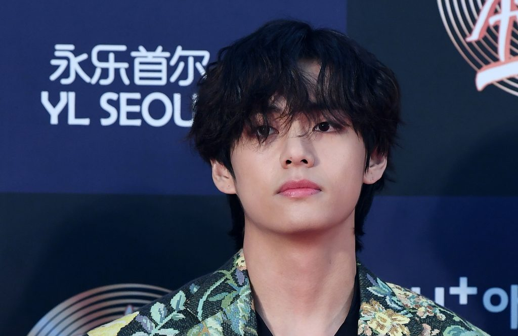 V of BTS arrives at the photo call for the 34th Golden Disc Awards