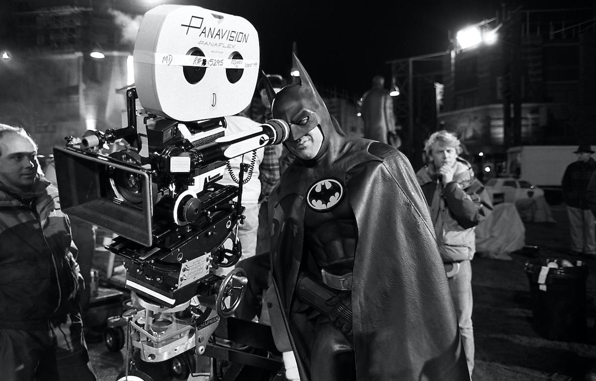 Michael Keaton during the filming of 'Batman'
