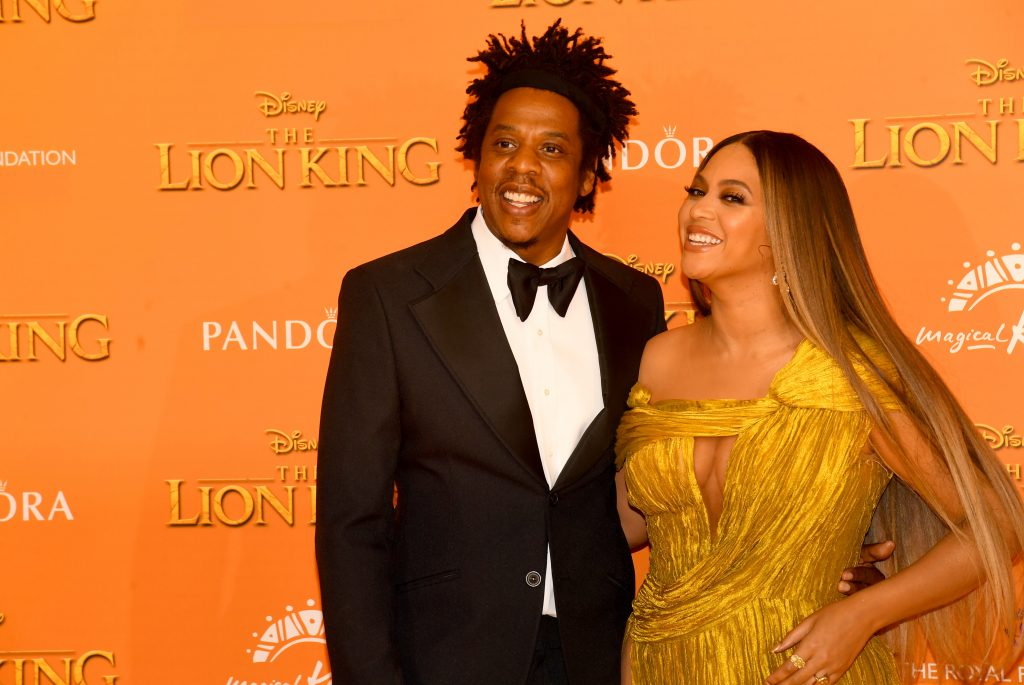 Jay-Z and Beyoncé Knowles-Carter attend 'The Lion King' European Premiere
