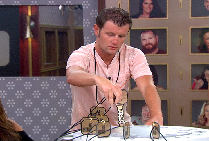 Big Brother-Houseguest Judd pulls a key during the nomination ceremony