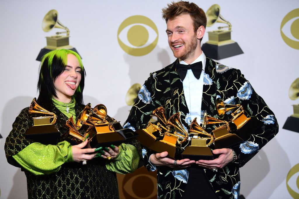US singer-songwriter Billie Eilish and Finneas O'Connell pose in the press room