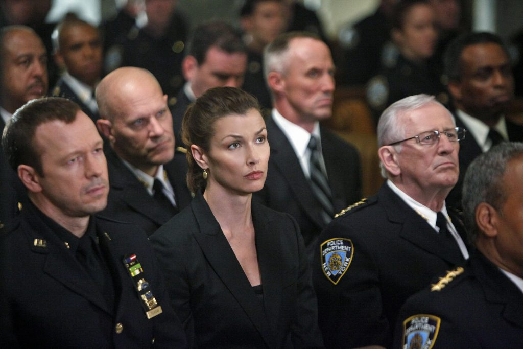 "The Blue Bloods cast in season 1, episode 4, ""Officer Down."" 