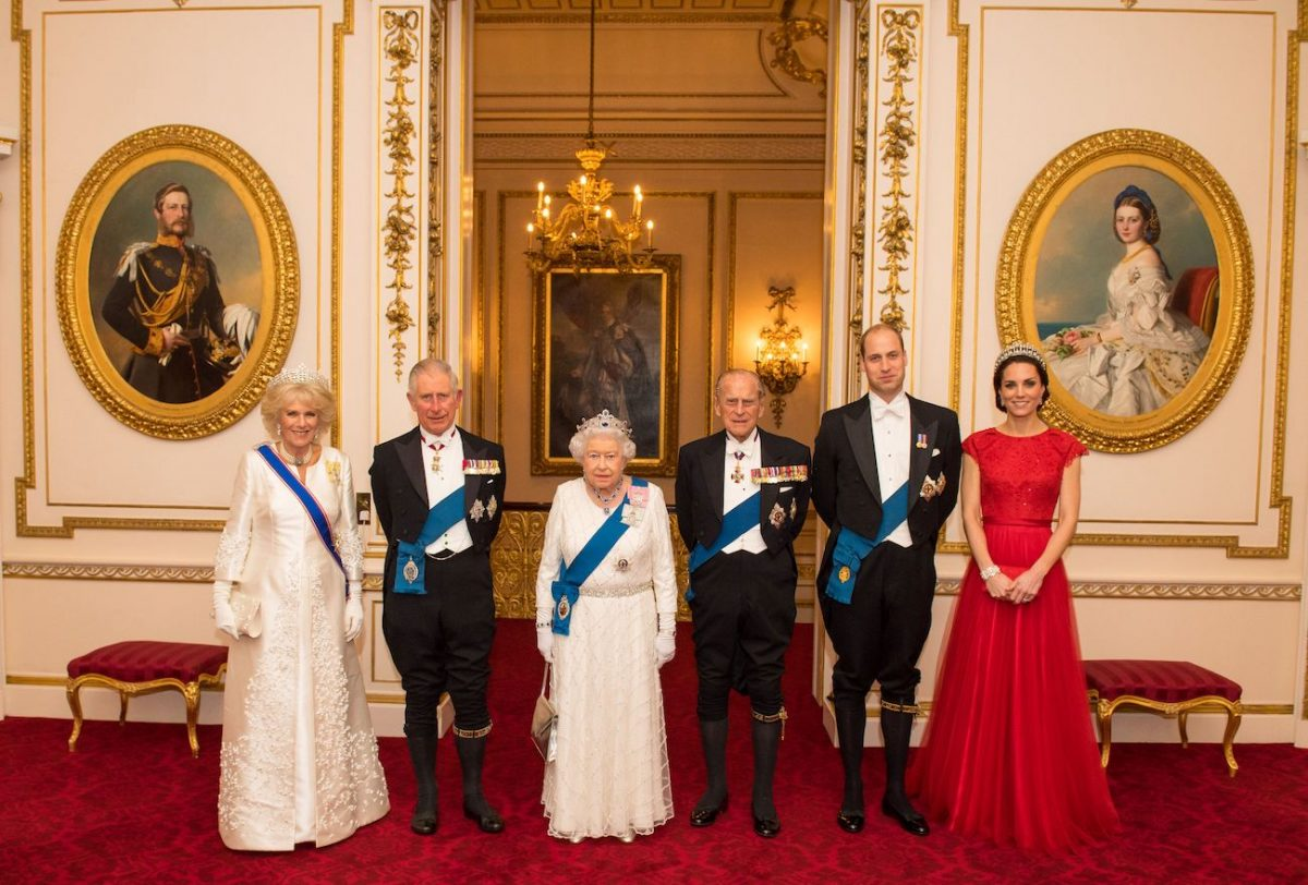 Camilla Parker Bowles, Prince Charles, Queen Elizabeth II, Prince Philip, Prince William, and Kate Middleton