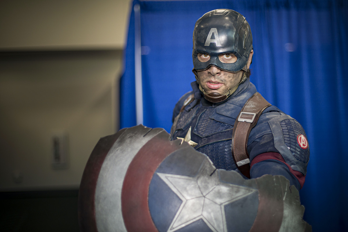 Cosplayer Griffin Reina as Captain America at San Diego Comic-Con
