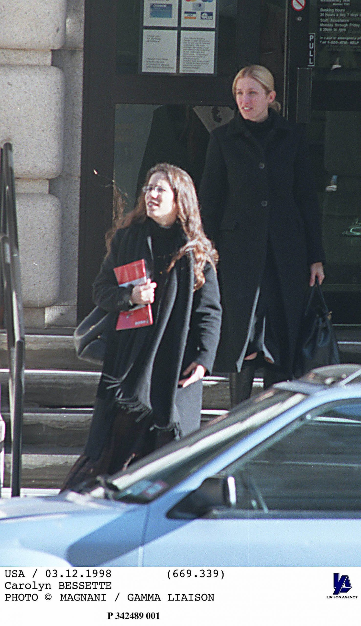 Carolyn Bessette Kennedy and sister, Lauren Bessette Kennedy, leave apartment in Manhattan