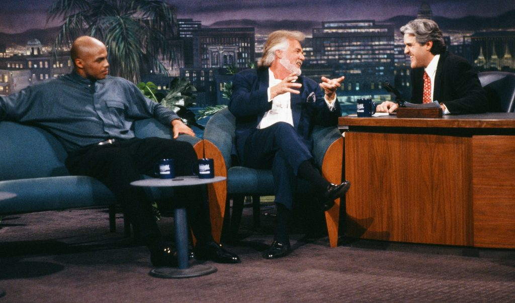 Charles Barkley, Kenny Rogers, and Jay Leno in 1994 | Margaret Norton/NBCU Photo Bank/NBCUniversal via Getty Images via Getty Images