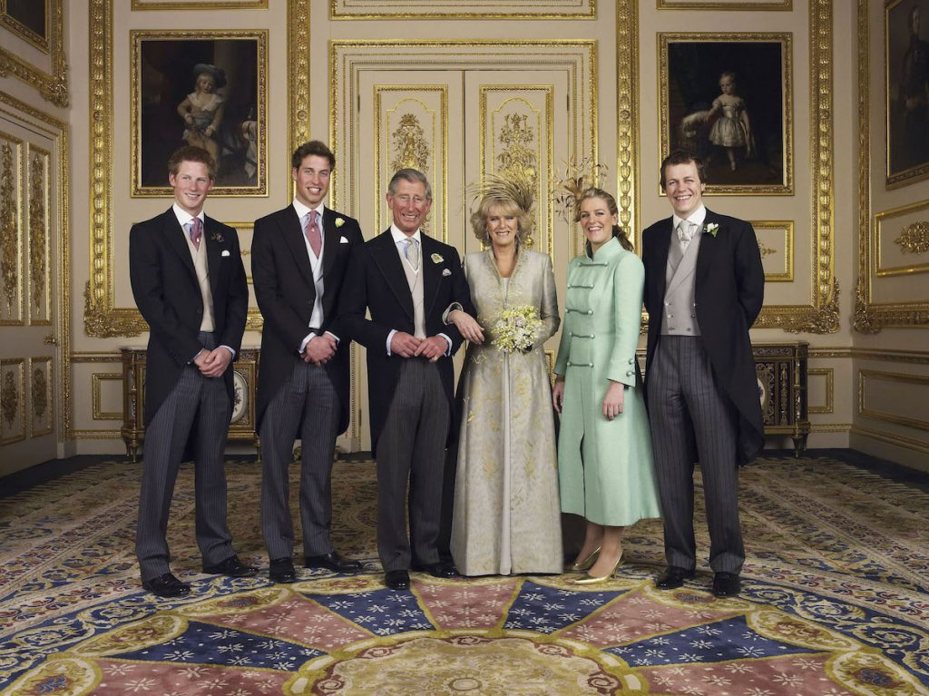 Prince Charles and Camilla Parker Bowles with their kids at their wedding in 2005