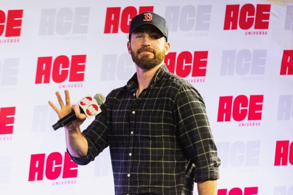 Chris Evans speaks on stage during ACE Comic Con at Century Link Field Event Center