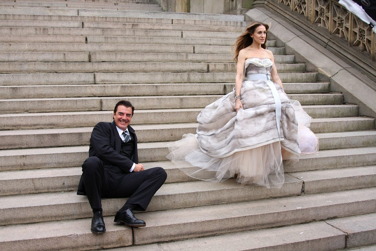 Chris Noth and Sarah Jessica Parker on location for a 'Vogue' photoshoot