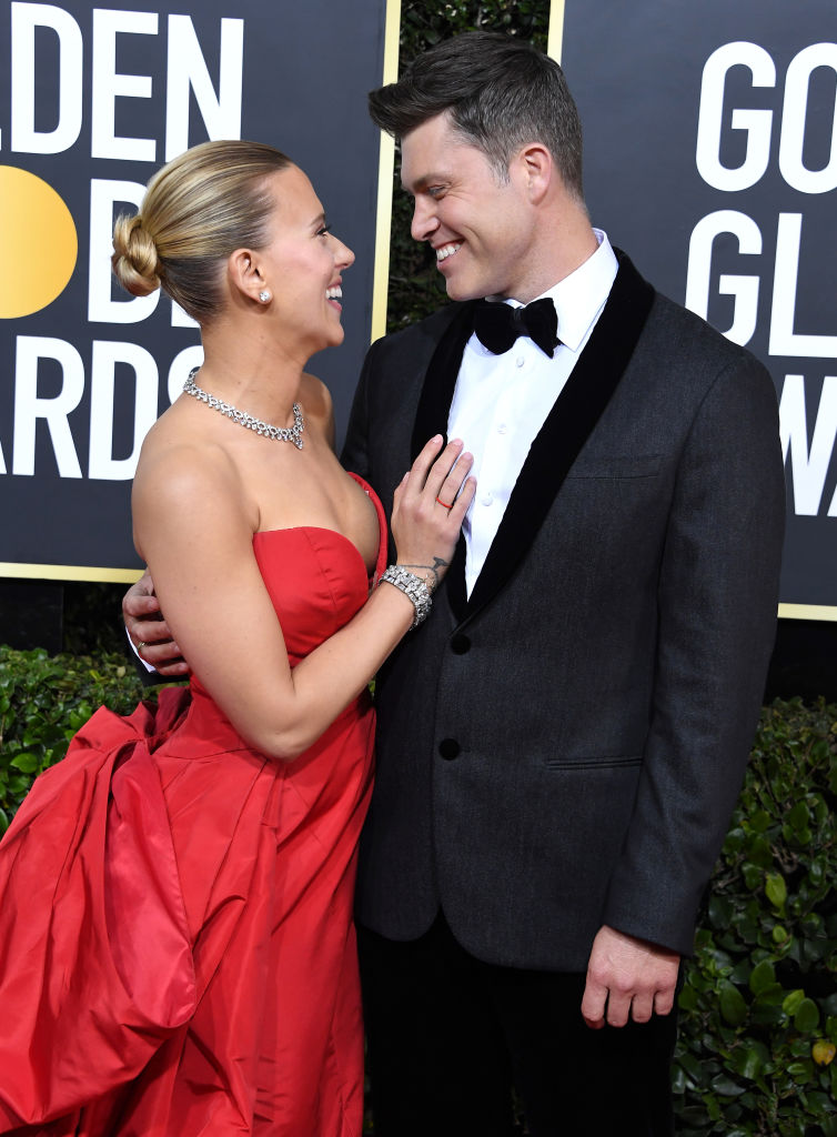 Colin Jost of Saturday Night Live and Scarlett Johansson of being an actress