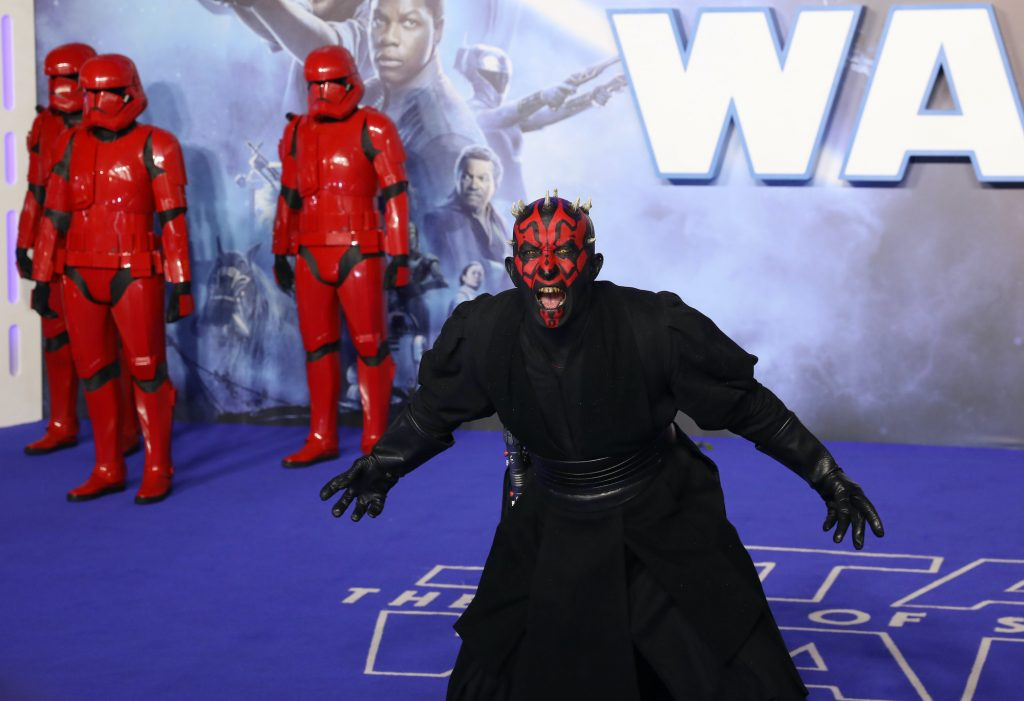 """Darth Maul attends the """"Star Wars: The Rise of Skywalker"""" European Premiere at Cineworld Leicester Square"""