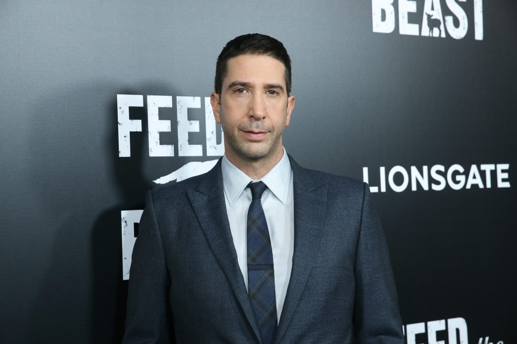 David Schwimmer smiling in front of a black background