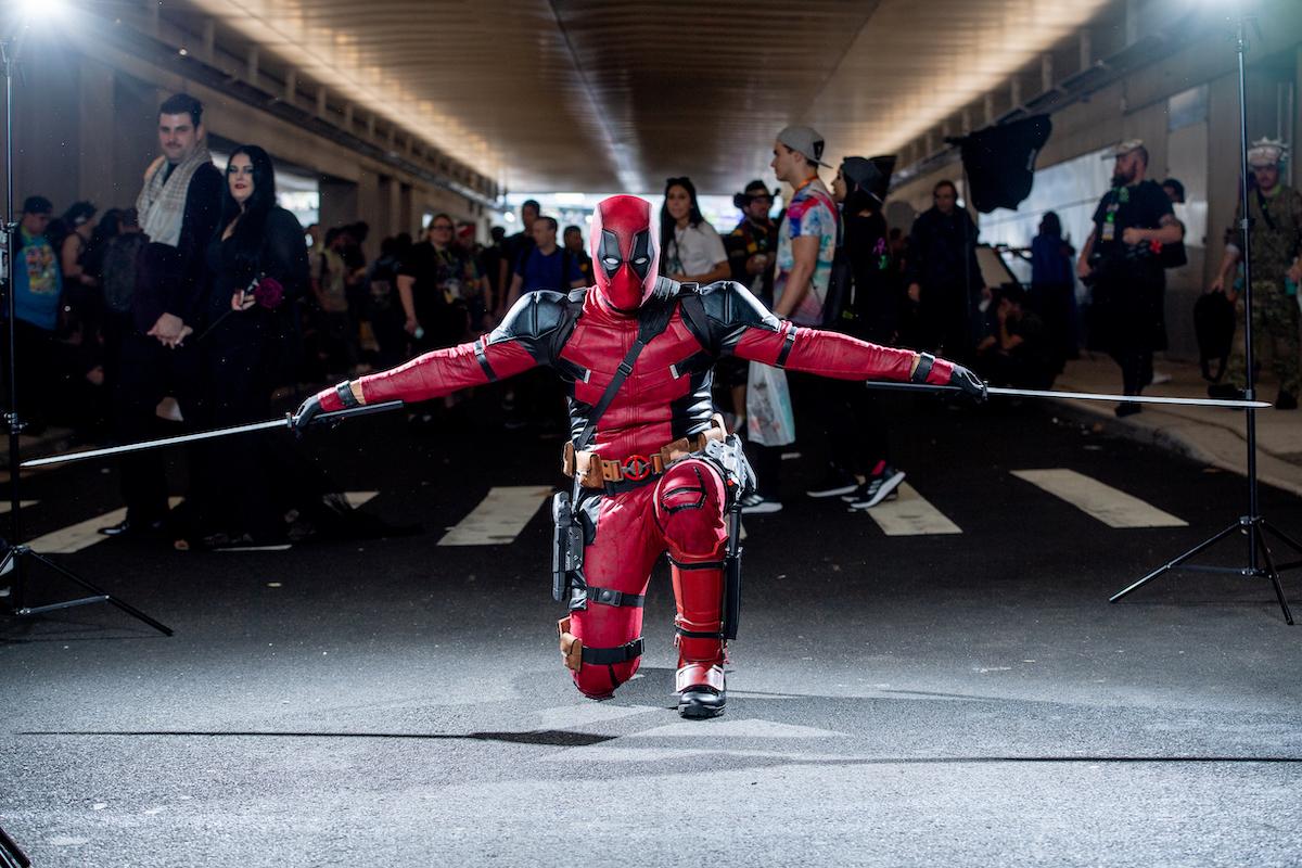 A fan cosplays as Deadpool