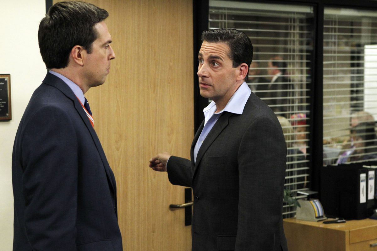 Ed Helms and Andy Bernard and Steve Carell as Michael Scott